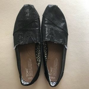 Black Glitter TOMS- Excellent Condition, Size 8.5
